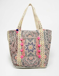 Warehouse Star Embroidered Shopper Multi