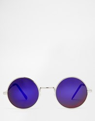 Jeepers Peepers Round Sunglasses With Green Lenses Silver