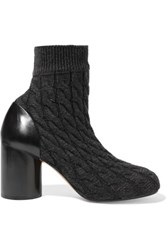 Maison Martin Margiela Cable Knit And Leather Ankle Boots Anthracite
