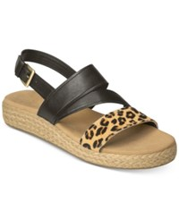 Aerosoles Globetrotter Espadrille Slingback Sandals Women's Shoes Leopard Tan