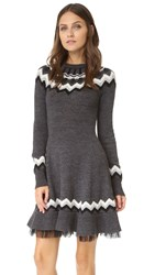 Red Valentino Fair Isle Sweater Dress Grey Combo