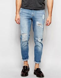 Hoxton Denim Light Blue Heavy Distressing Skinny Jean Blue