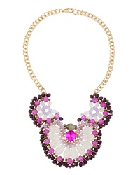 Fragments For Neiman Marcus Fragments Beaded Flower Bib Necklace Purple Magenta