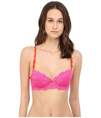 Emporio Armani Sexy Fancy Pop Lace Padded Balconette Raspberry Women's Bra Pink