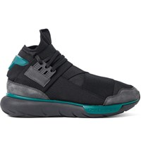 Y 3 Qasa Suede Trimmed Stretch Shell High Top Sneakers Charcoal