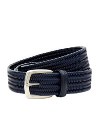 Canali Plaited Leather Belt Unisex Navy