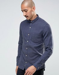 Pull And Bear Pullandbear Check Shirt In Navy In Regular Fit Navy