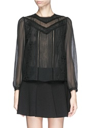 Alice Olivia 'Dayna' Sheer Sleeve Lace Embroidery Blouse Black