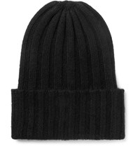 The Elder Statesman Ribbed Cashmere Beanie Black