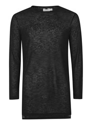 Topman Black Sheer Fabric Longline Long Sleeve T Shirt