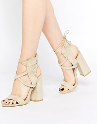 Daisy Street Block Heel Lace Up Heeled Sandals Nude