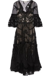Temperley London Appliqued Tulle Dress Black