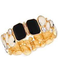 Guess Gold Tone Crystal And Stone Stretch Bracelet
