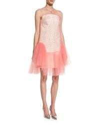 Delpozo Strapless Jacquard Cocktail Dress W Removable Tulle Overlay Light Pink
