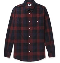 Nn.07 Nn07 New Derek Button Down Collar Checked Cotton Flannel Shirt Claret