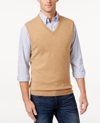 Club Room Men's Big And Tall Cashmere Solid Sweater Vest Camel