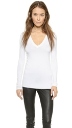 Three Dots Long Sleeve V Neck Tee White