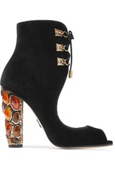 Paul Andrew Nehir Embellished Velvet Sandals Black