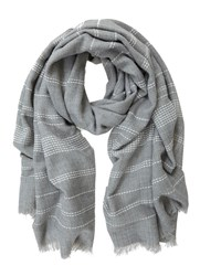 Mint Velvet Grey Stabstitch Stripe Scarf