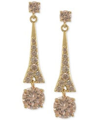 Carolee Earrings Gold Tone Glass Bead Linear Drop Earrings