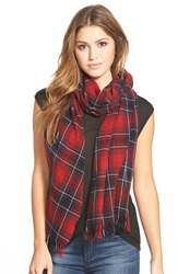 The Kooples Check Wool And Cashmere Scarf Burgundy Dark Navy