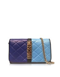 Moschino Blue Color Block Nappa Leather Wallet On Chain