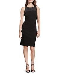 Ralph Lauren Faux Leather Yoke Dress Black