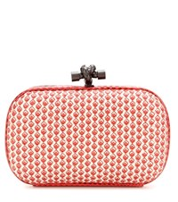 Bottega Veneta Knot Snakeskin Trimmed Printed Leather Box Clutch Red