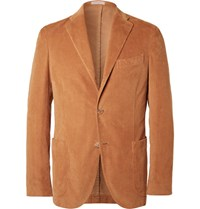 Boglioli Brown Slim Fit Stretch Cotton Corduroy Blazer Camel