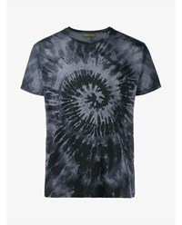 Valentino Tie Dye Print T Shirt Black Multi Coloured Grey Green Indigo