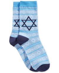 Charter Club Women's Star Fair Isle Socks Only At Macy's Light Blue