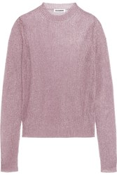 Jil Sander Metallic Open Knit Sweater Pink