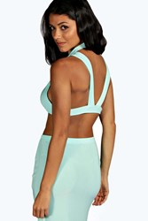 Boohoo Rose Slinky Strap Back Crop Top Mint