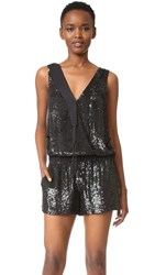 Loyd Ford Sequin Tux Romper Black