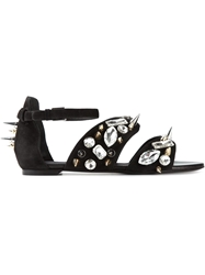 Emanuel Ungaro Stud And Jewel Embellished Sandals Black