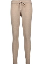 Chinti And Parker Merino Wool Cashmere Blend Tapered Pants Beige