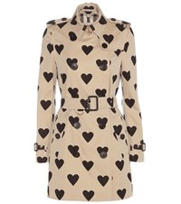 Burberry The Kensington Printed Cotton Trench Coat Beige