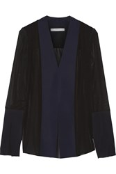 Dion Lee Tech Jersey Paneled Silk Chiffon Blouse Midnight Blue
