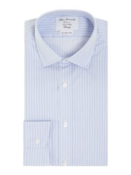 T.M.Lewin Stripe Fully Fitted Long Sleeve Formal Shirt Blue