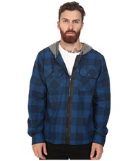 Tavik Izumi Long Sleeve Hooded Flannel Blue Heather Grey Men's Short Sleeve Knit