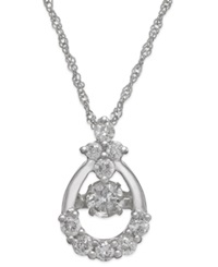 Twinkling Diamond Star Diamond Open Teardrop Pendant Necklace In 14K White Gold 3 8 Ct. T.W.