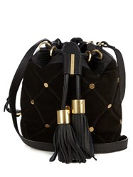 See By Chloe Vicki Medium Suede Cross Body Bucket Bag Black