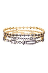 Freida Rothman 14K Gold And Rhodium Plated Cz Baguette Bar Bangles Set Of 3 Metallic