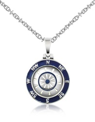 Forzieri Stainless Steel Cardinal Points And Rudder Pendant Necklace Silver