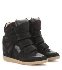 Isabel Marant Etoile Bekett Leather And Suede Wedge Sneakers Black