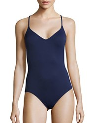 Vince Camuto Embroidered One Piece Swimsuit Navy