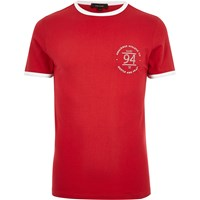 River Island Mens Red Ringer Muscle Fit T Shirt