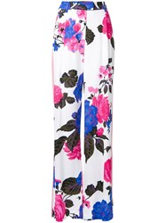 Msgm Floral Print Straight Trousers Pink Purple