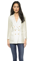 Band Of Outsiders Peak Lapel Double Breasted Blazer Ecru