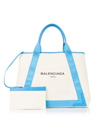 Balenciaga Navy Cabas M Cotton Canvas Shopper Blue Multi